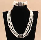 7-8mm三层白珍珠项链手链套装