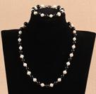 7-8mm白珍珠黑玛瑙项链手链套装