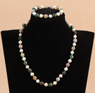 7-8mm白珍珠印度玛瑙项链手链套装