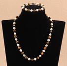7-8mm白珍珠虎眼石项链手链套装