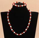 7-8mm白珍珠红玛瑙项链手链套装