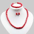 红珊瑚叠珠项链手链耳环套链