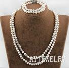 天然白珍珠套链