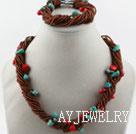 珊瑚松石玻璃珠套链