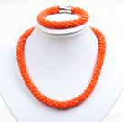 橘红色玉料水晶项链手链套链
