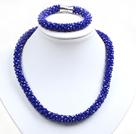 蓝色玉料水晶项链手链套链