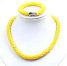 黄色玉料水晶项链手链套链