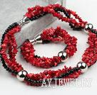 珊瑚黑水晶套链