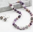 12mm切面紫晶花项链耳环套装