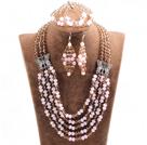 粉色浅棕色五层水晶项链手链耳环套链
