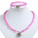 亮粉色土豆形珍珠项链手链套装