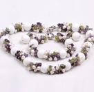 珍珠紫晶橄榄石白瓷石套链