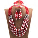 红色粉色五层水晶项链手链耳环套链