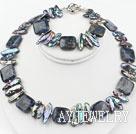 琵琶珍珠蓝纹石套链