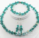 蓝绿色水晶套链