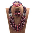 红色紫色五层水晶项链手链耳环套链