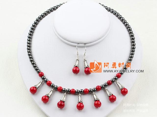 黑胆石红珊瑚套链