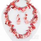 粉红色贝壳珍珠西瓜水晶套链