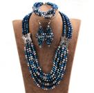 蓝色灰色五层水晶项链手链耳环套链