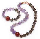 异形冲角紫水晶 茶晶 烟晶 红玛瑙手链 项链 套链