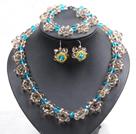 蓝色茶色水晶花项链手链耳环套链