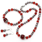 灰珍珠 A级红玛瑙项链 手链 耳环 套链 配合金饰品
