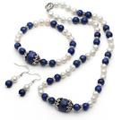 青金石 白珍珠项链 手链 耳环 套链