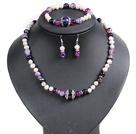 白珍珠 紫玛瑙项链 手链 耳环 套链 配合金饰品