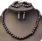 8-9mm黑珍珠项链手链耳环套装