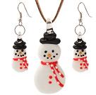 陶瓷圣诞雪人项链 耳环 套链