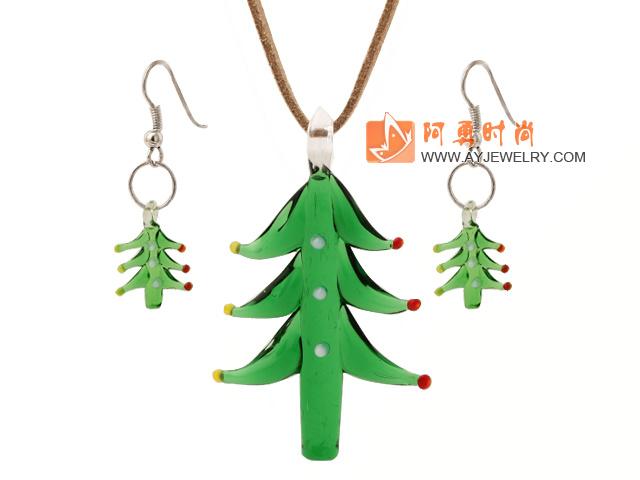 琉璃圣诞树项链 耳环 套链