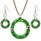 琉璃圣诞泳圈项链 耳环 套链