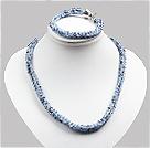 蓝色玉料水晶蛇形项链手链套链