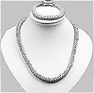 蓝灰色玉料水晶蛇形项链手链套链