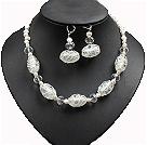 白珍珠水晶琉璃项链耳环套链