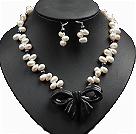 黑白双色珍珠墨玉蝴蝶结项链耳环套链