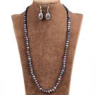 黑珍珠项链耳环套装