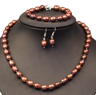 8-9mm米形棕色珍珠项链手链耳环套装