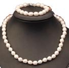 8-9mm米形白色珍珠项链手链套装