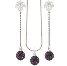 软陶紫色水钻球项链 耳环(特彩)