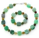 绿色异形玛瑙手链 项链 套链 配金属隔珠