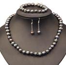 9-10mm灰黑珍珠项链手链耳环套装
