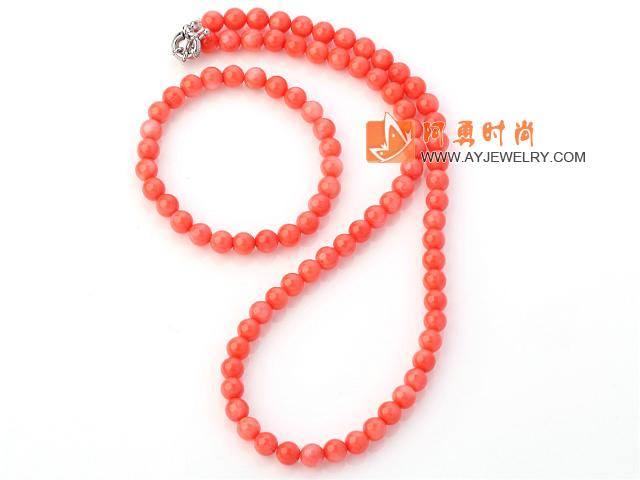 7MM粉珊瑚手链 项链 套链 配方向盘扣 圆珠款