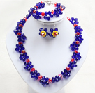 蓝红色系水晶花项链手链耳环套链