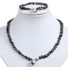 灰黑色土豆形珍珠项链手链套装