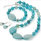 蓝玛瑙项链 手链 耳环 套链