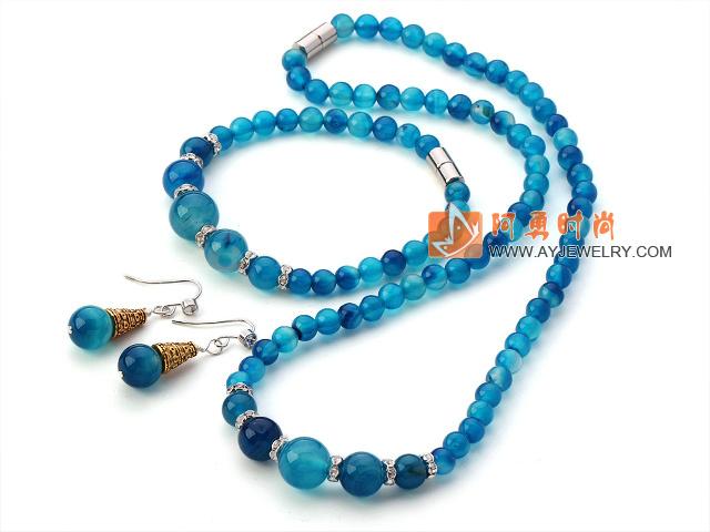 蓝玛瑙 项链 手链 耳环 套链 配磁力扣
