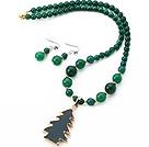 绿玛瑙项链 耳环 套链 配绿玛瑙吊坠