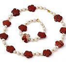 天然白色珍珠 红云石项链 手链 套链