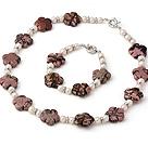 天然白色珍珠 红纹石项链 手链 套链
